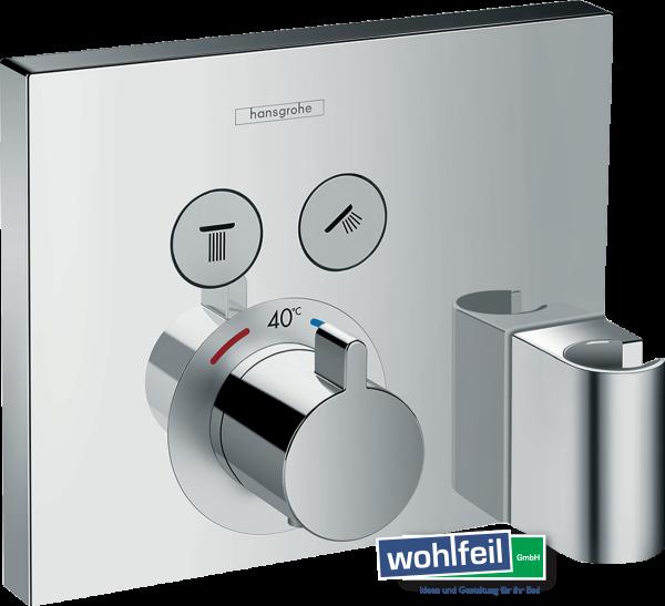 Hansgrohe ShowerSelect Thermostat Unterputz für 2 Verbraucher mit Schlauchanschluss und Brausehalter
